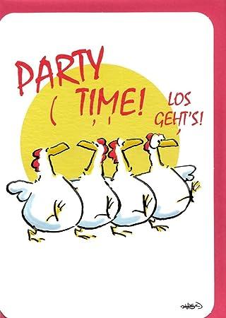Carte Danniversaire Humoristique Party Time Poules Danse Amazonfr