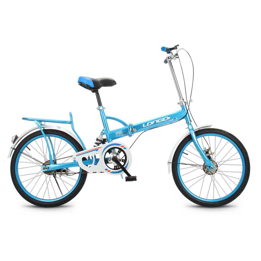 折りたたみ自転車20インチ大人シングルスピードショックアブソーバ高炭素鋼の自転車男性と女性の子供用自転車、ブラック/ブルー/ピンク/グリーン (Color : Blue) B07CZ3GF22