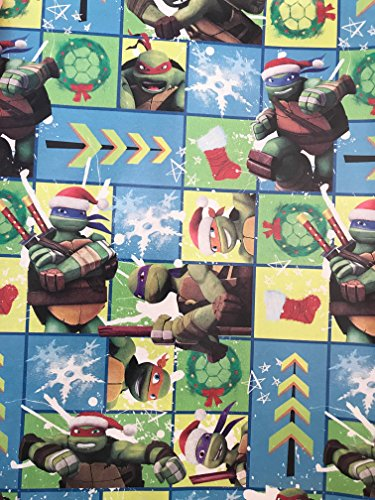 Carol Collection Costumes Jewelry (Teenage Mutant Ninja Turtles Christmas Gift Wrap - TMNT Wrapping Paper - FEATURING: Michaelangelo, Leonardo, Raphael, and Donatello! (Blue Checker Ninja Turtle (45sqft)))