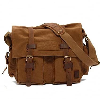 481497e393 Canvas Leather Crossbody Bag Men Military Army Vintage Messenger Bags Large Shoulder  Bag Travel Bags I