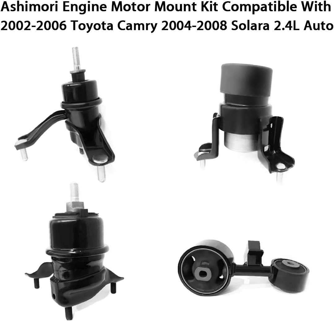Ashimori Compatible With 2002-2006 Toyota Camry 2004-2008 Solara 2.4L Auto Transmission Engine Motor Mount Set A4203 A4204 A4207 A4211