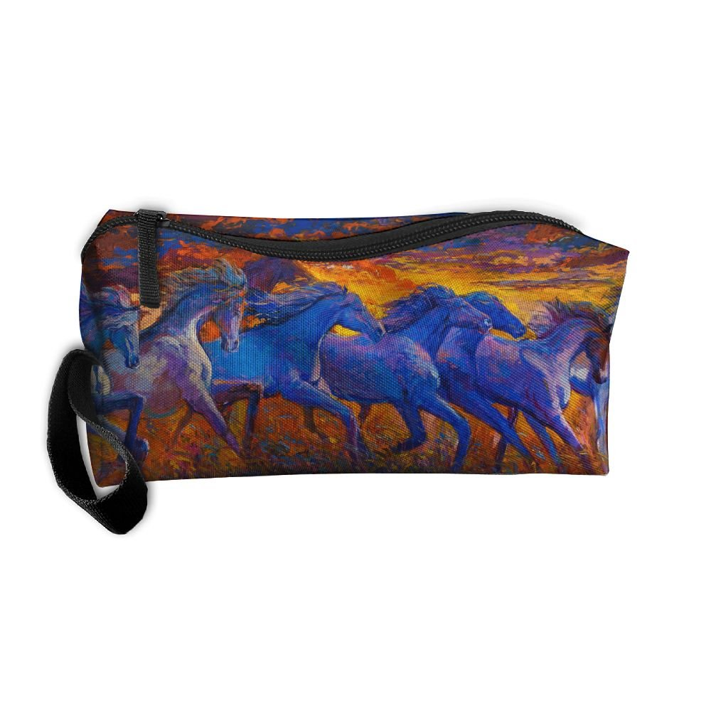 80%OFF Running Horses Oil Painting Pattern Makeup Bag Calico Girl Women Travel Portable Cosmetic Bag Sewing Kit Stationery Bags Cute Storage Pouch Bag Multi-function Bag