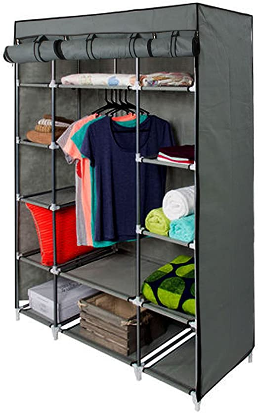 Portable Clothes Closet Wardrobe Home Rack Storage Organizer With Steel Shelves
