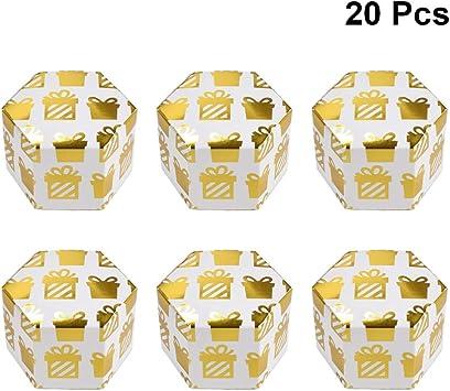 Amosfun caja de regalo de boda caja de dulces hexagonal brillo chocolate cajas de dulces despedida de soltera cumpleaños xams día de san valentín fiesta favor suministros oro sin cinta: Amazon.es: Salud