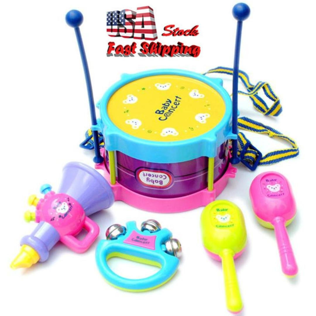 5Pcs Baby Kids Roll Drum Musical Instruments Band Kit Children Toy Gift Set US