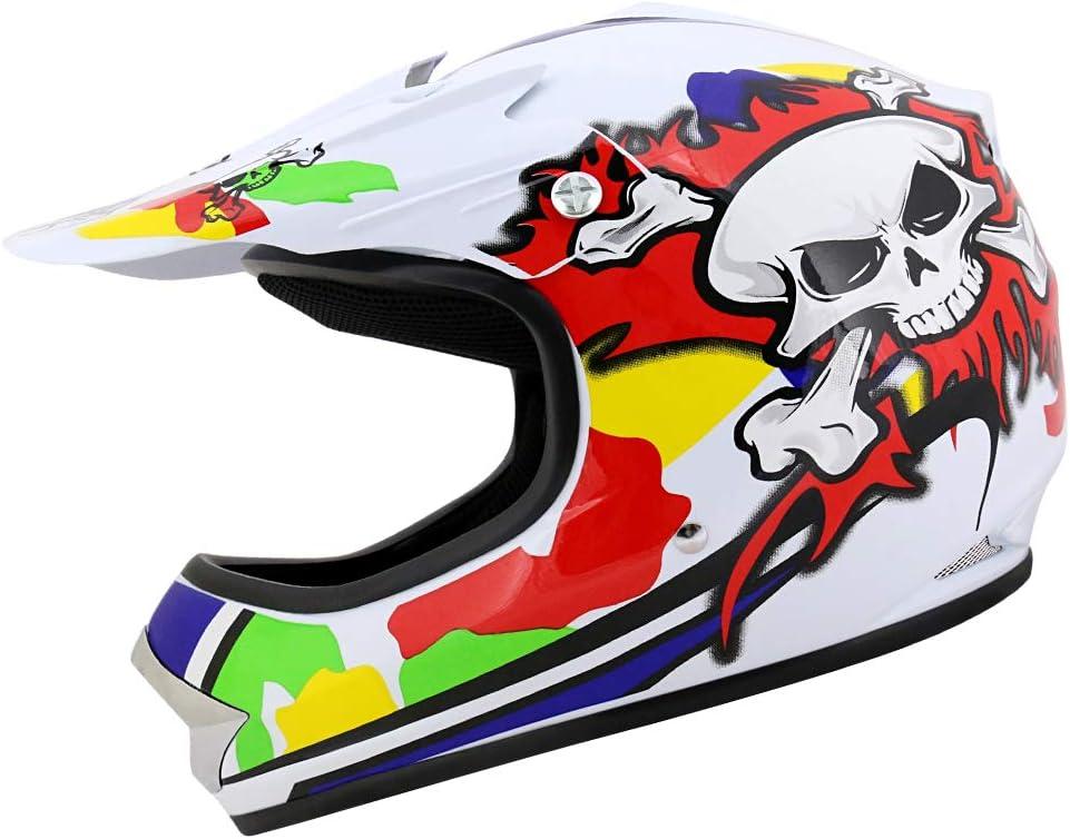 9-10 Yrs Leopard LEO-X18 Kids Child Motocross Motorbike Helmet /& Gloves /& Goggles Skull S + Kids CAMO Motocross Motorbike Suit Clothing Suit L