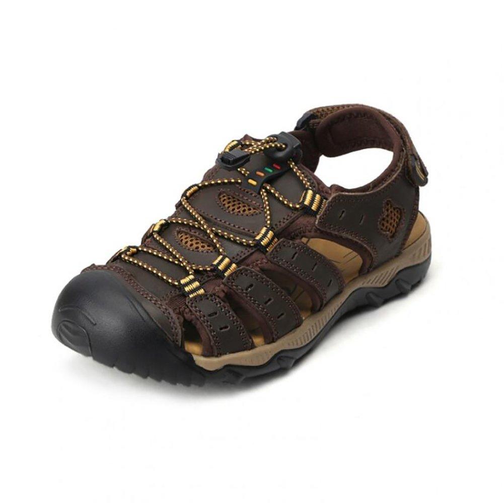 Verano Cuero Sandalias Exterior Hombres Playa Zapatos Deportes Respirable Zapatilla,Darkbrown,39 39|Darkbrown