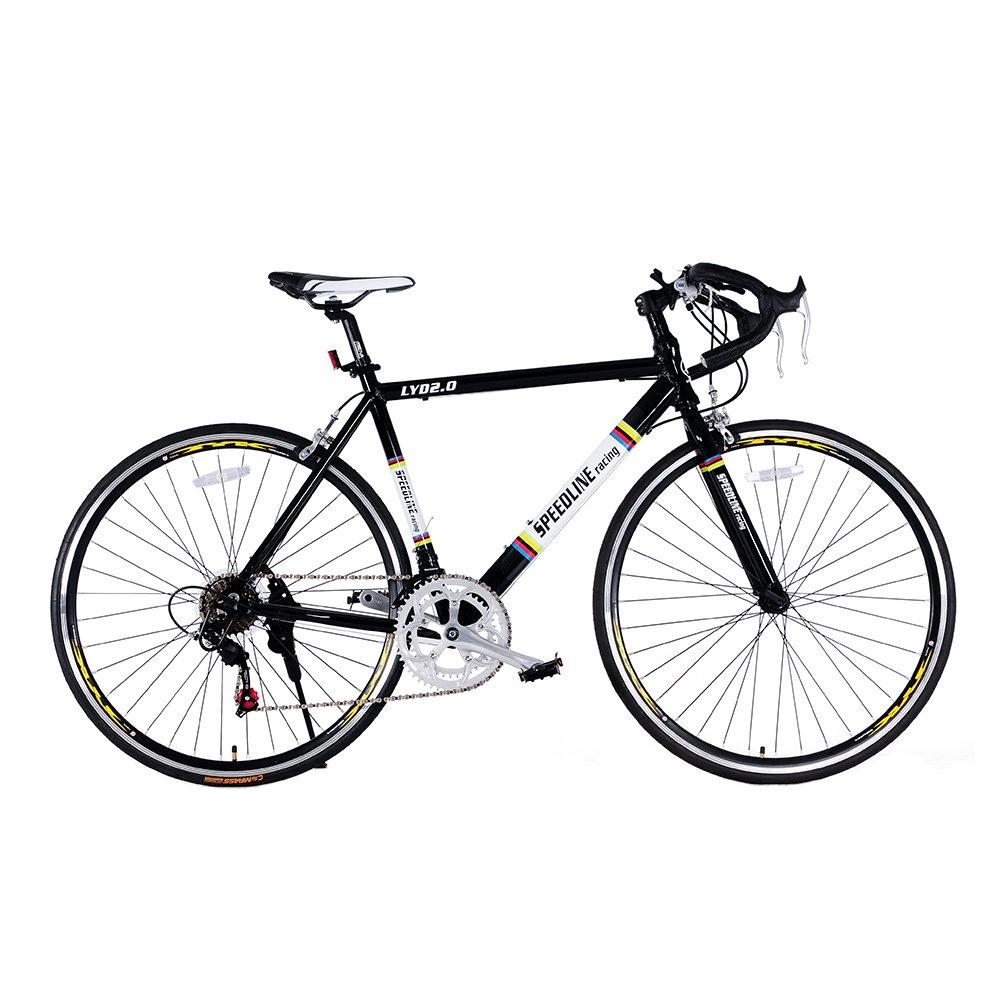 ロードバイク ドロップハンドル 700*23C アルミフレーム クイックリリース 自転車 変速機使用 14段変速 初心者 入門 街乗り 通学通勤 軽量 ドロップハンドル RS-11 B079NRQPT6 ブラック ブラック