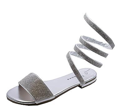 b6decca2a23e HeelzSoHigh Ladies Flat Silver Slip-On Diamante Twist Sandals Flip-Flops  Slider Mules Shoes Sizes 3-8  Amazon.co.uk  Shoes   Bags