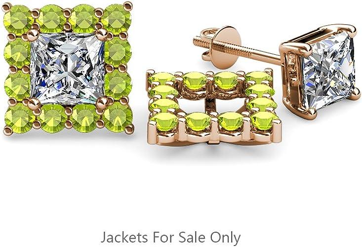 TriJewels Peridot Halo Jacket for Princess Cut Stud Earrings 0.70 Carat tw in 14K Yellow Gold