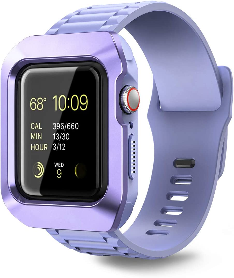 Dexnor Case for Apple Watch 40mm Series 6/SE/5/4, [Built in Adjustable Band] Rugged Military Grade Protection Soft Silicone Hard Cover with Band for iWatch Series 6/SE/5/4 [40mm] Blue Purple