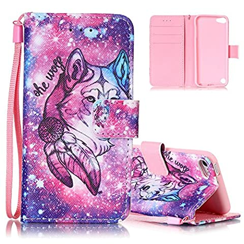 Aeeque iPod Touch 6 Wallet Case Durable iPod Touch 5 Cover PU Leather Card Holder Wristlet Flip Stand Case Cover Protective Holster Shell for iPod Touch 5th/6th Generation - (Ipod 5th Generation With Holster)