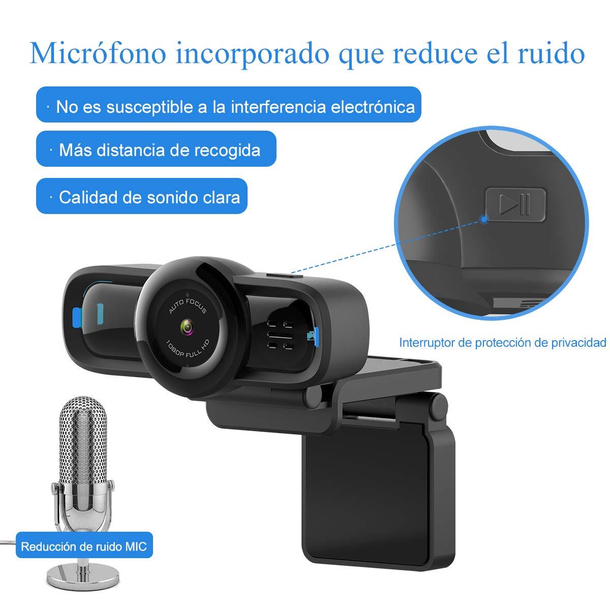 Clip Girevole Flessibile W1C Nero USB Desktop e Laptop Webcam Dericam 720P HD Live Streaming Webcam Mini Plug And Play Videocamera per videochiamate Microfono Incorporato