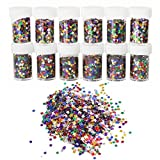 ROSENICE 12 Bottles Glitter Shiny Colorful Spangles For Kids DIY Arts Crafts Painting Decoration