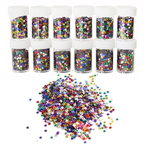 ROSENICE 12 Bottles Glitter Shiny Colorful Spangles For Kids DIY Arts Crafts Painting Decoration by ROSENICE