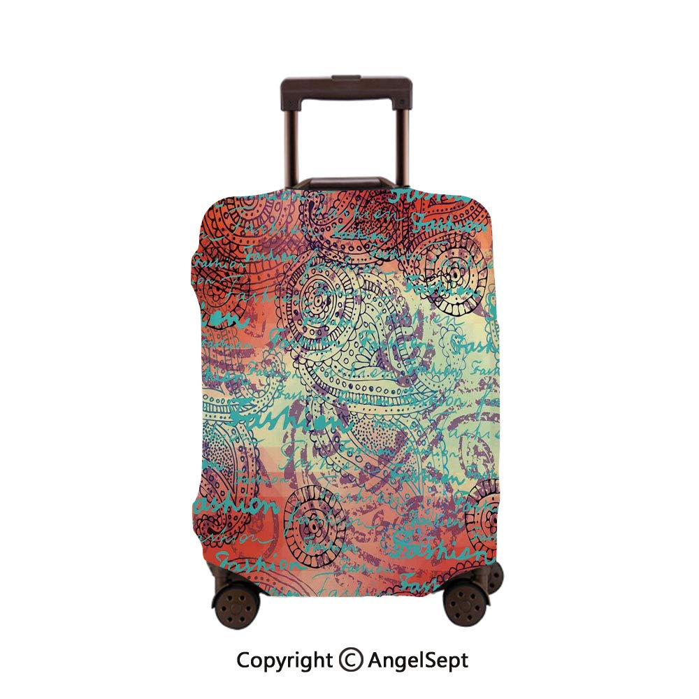Luggage Cover Suitcase Protector,Lettering of Grunge Background Circle Ornamentals Inspiring Orange Turquoise,30x40inches,Stretchy Dustproof Travel Protector Cover