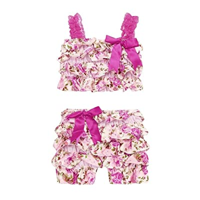 12-24 Months Girls,Yamally_9R Infant Girls Bowknot Camisole Vest Tops and Floral Shorts Summer Outfits Set,2 Pieces Set