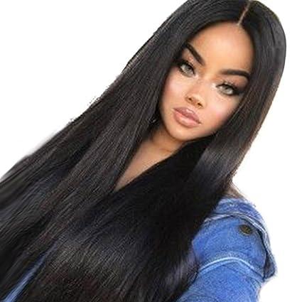 Amazon Women Wigs Sacow Fashion Long Natural Straight Black