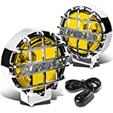 """6"""" Round Fog Lights+Offroad Super 4X4 Guard+Switch (Amber Lens Chrome Housing)"""