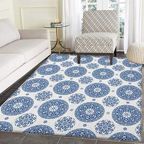 Vintage Anti-Skid Area Rug French Country Style Floral Circular Pattern Lace Ornamental Snowflake Design Print Door Mat Increase 3'x4' Blue White