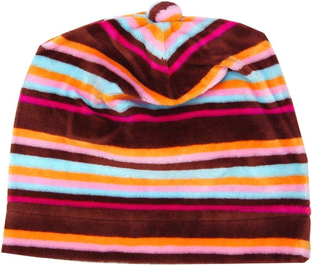 Zutano Chocolate Stripe Velour Baby Hat 18-24 months