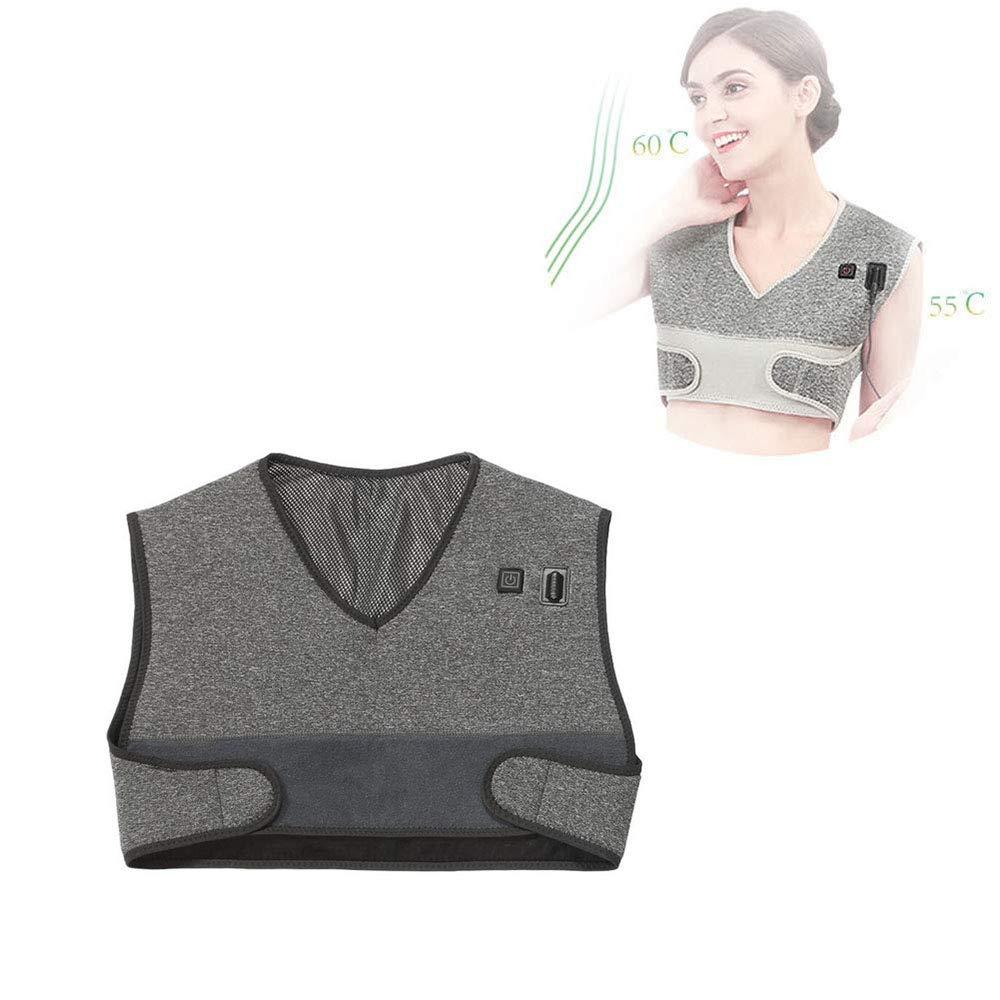 電気暖房ショール熱い圧縮ベスト、肩暖房ラップ理学療法の肩パッド保温保冷防寒パッチ,Black B07SD5KRG7 Black