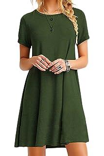 41c1641d9cc45 YMING Women Summer Casual T Shirt Dresses A Line Swing Simple Multicolor  Mini Dress Plus Size