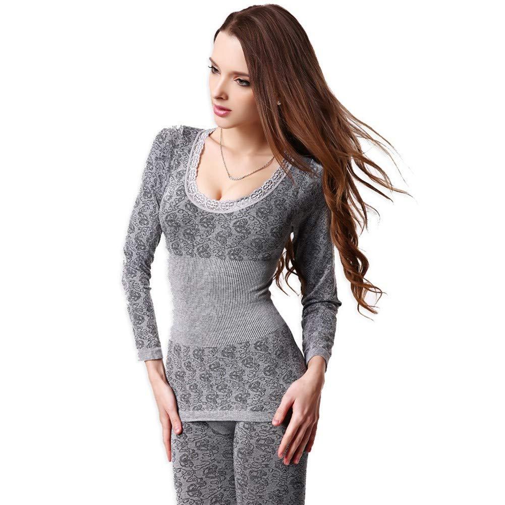 HNRYUDCF Nahtlose atmungsaktiv warme Lange Unterhosen Damen dünne Unterwäsche Sets Bottoming Frauen Tunika Winter Thermo-Unterwäsche grau, XXL
