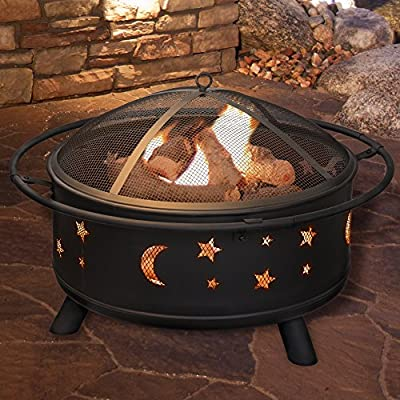 Fire Pit Set, Wood Burning Pit - Includes Screen, Cover and Log Poker- Great for Outdoor and Patio, 30 inch Round Star and Moon Firepit by Pure Garden by Pure Garden