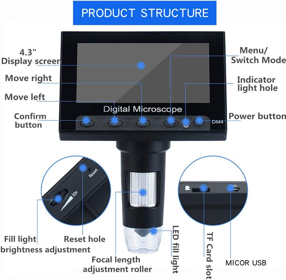 LCD Digital Microscope 4.3 Inch 1000X Magnification Zoom HD 1080P USB Electron Microscope 8 Adjustable LED Video Image Recorder Camera SD Card Storage