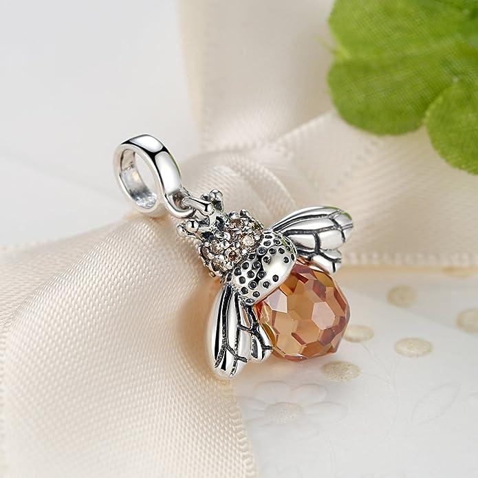 GOXO 925 Oxidized Sterling Silver Queen Honey Bee Little Bumblebee Bracelet 6qvIXPOLT
