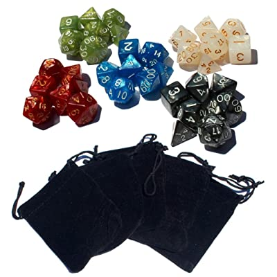 35 Polyhedral Dice | 5 Sets of RPG Dice for Dungeons and Dragons and Other RPG's