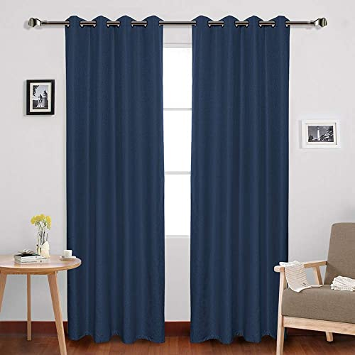 FULAN Navy Blue Blackout Curtains Line Pattern Jacquard Textured Grommet Curtain