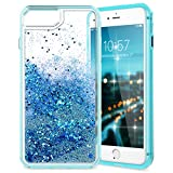 iPhone 8 Plus Case, CinoCase iPhone 7 Plus Liquid Case 3D Creative Bling Glitter Moving Quicksand Love-Heart Design Sparkle Clear Soft TPU Protective Cover for Apple iPhone 6/7/8 Plus Blue