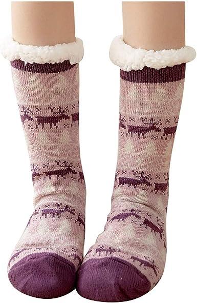 Kinlene Señoras medias de Navidad más terciopelo antideslizante ...