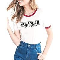 WSPLYSPJY Womens Crew Neck Letter Print Short Sleeve Stranger Things Print T-Shirt