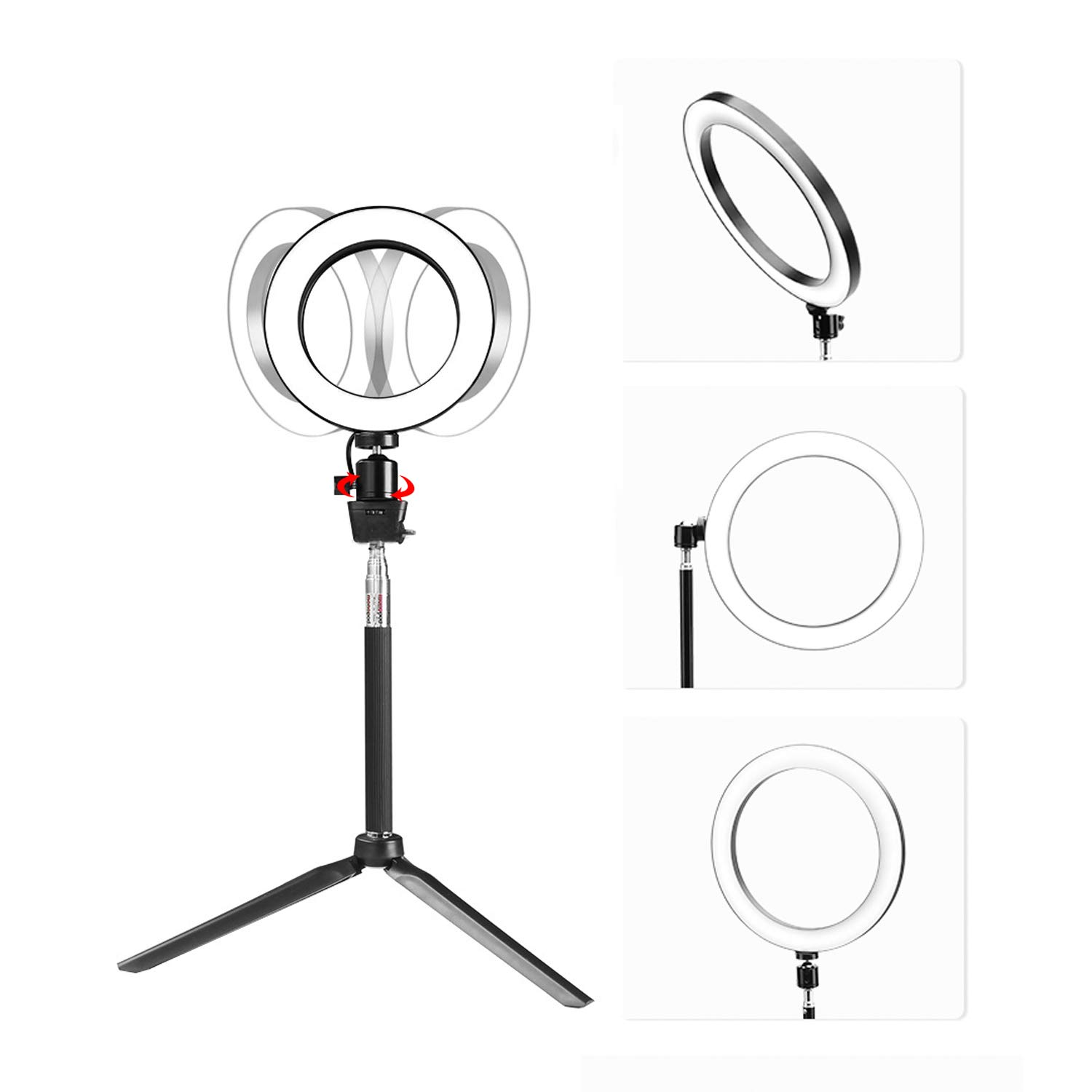 Ring Light with Stand for Camera Live Stream Makeup Phone,Dimmable LED Selfie Ring Light for Phone Video Shooting by NCElec (Image #5)