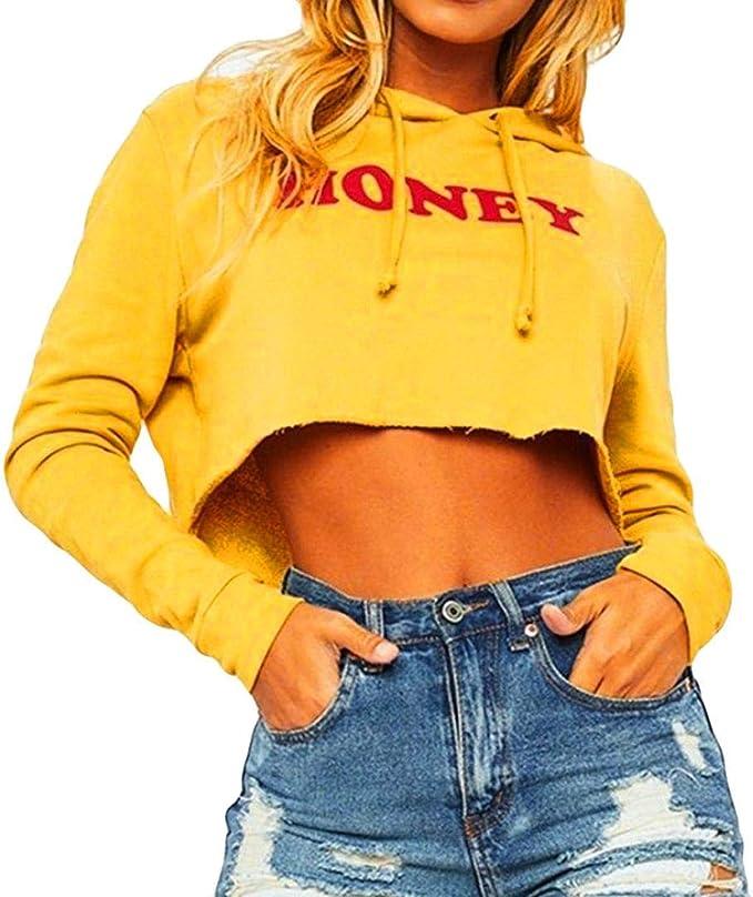 Oyedens Donna Felpe Hoodie Sweatshirt Moda Crop Top Casual Felpa Tumblr Ragazza Magliette Manica Lunga Jumper Autunno Inverno Hooded Pullover Stampa Tops Blouse T-Shirt