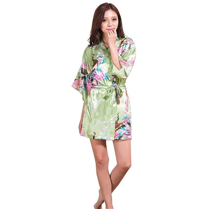 PrettyCos Albornoz Bata de Bano Kimono Mujer Pijamas Suave Bata de ...