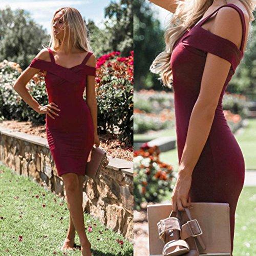 Cerimonia Spalla Vino Da Eleganti Sera Homebaby Vestiti Elegante Abito Completo Sottile Bordeaux Vestito Abiti Donna Off Lungo NPmn0Oyv8w