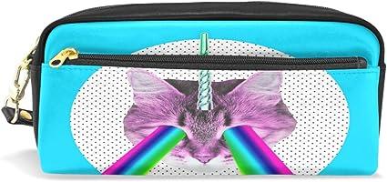 Estuche para lápices, diseño de unicornio de gato con arcoíris impreso bolsa de viaje maquillaje de gran capacidad de cuero impermeable 2 compartimentos para niñas niños mujeres hombres: Amazon.es: Oficina y papelería