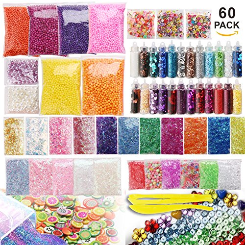 Price comparison product image Slime Supplies Kit,60 Pack Slime Beads Charms,Include Foam Balls,Fishbowl beads,Fruit Flower Animal Slices,Glitter Jars,Pearls,Slime Tools for DIY Slime Making,Homemade Slime,Children Slime Party