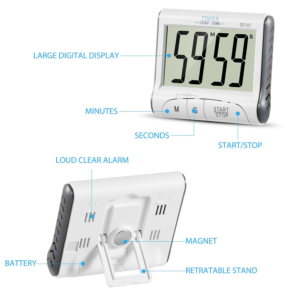 Temporizador de Cocina, ZOETOUCH Reloj Temporizador Digital ...