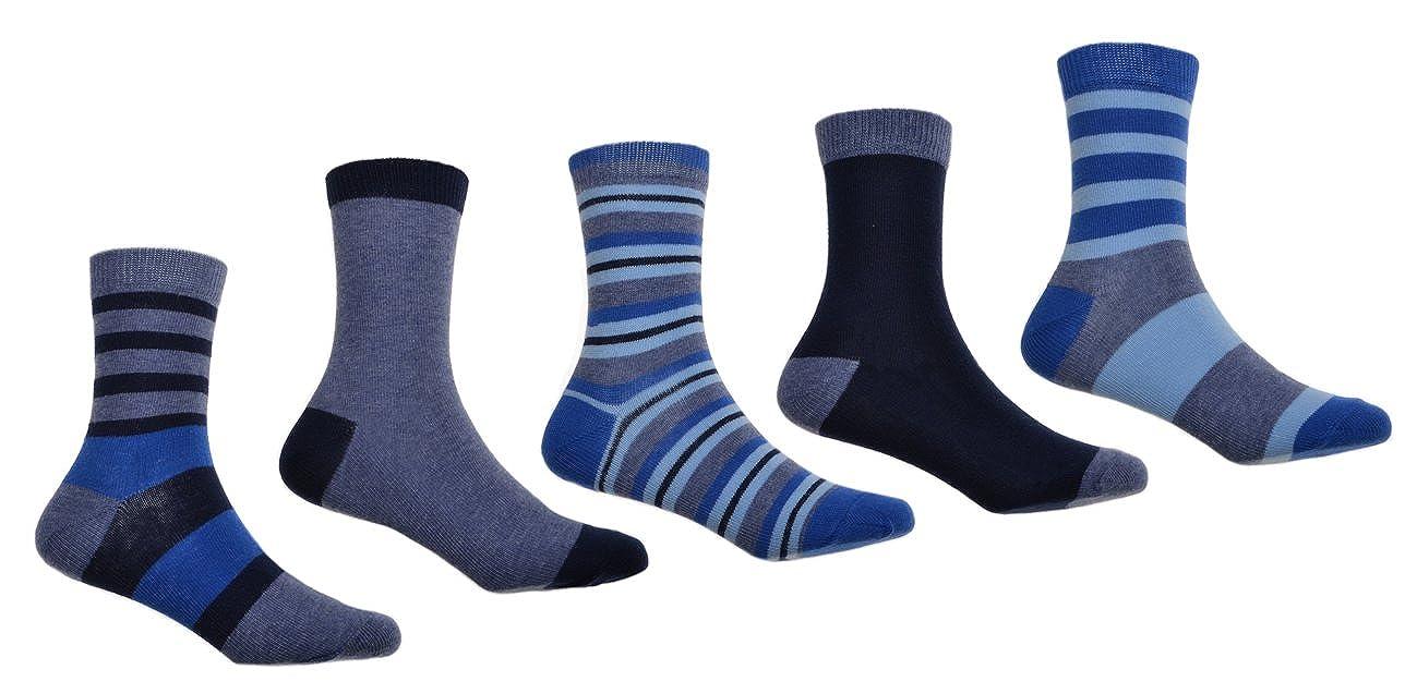 5 pairs of Denim/Navy/Blue Stripey Boys socks