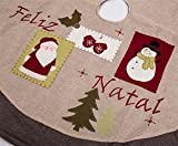 SANNO 48 Christmas Tree Skirt Burlap, Flaxen Jasper Lint Ornaments Decorations Including Santa Claus and Snowman Plane Patterns