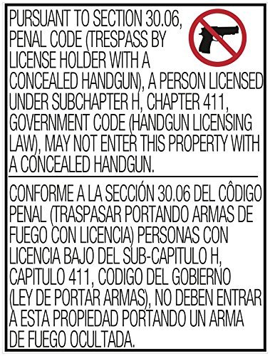 Section 30.06 No Open Carry Texas Gun Sign, Outdoor Window Vinyl Stickers, 17'' x (Texas 30.06 Sign)