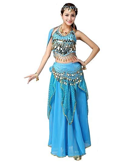 Grouptap Bollywood Mujeres India árabe Sexy Dama Bailarina del Vientre con Lentejuelas Falda Larga Vestido Fiesta Traje Rojo/Azul/Amarillo Elegante ...