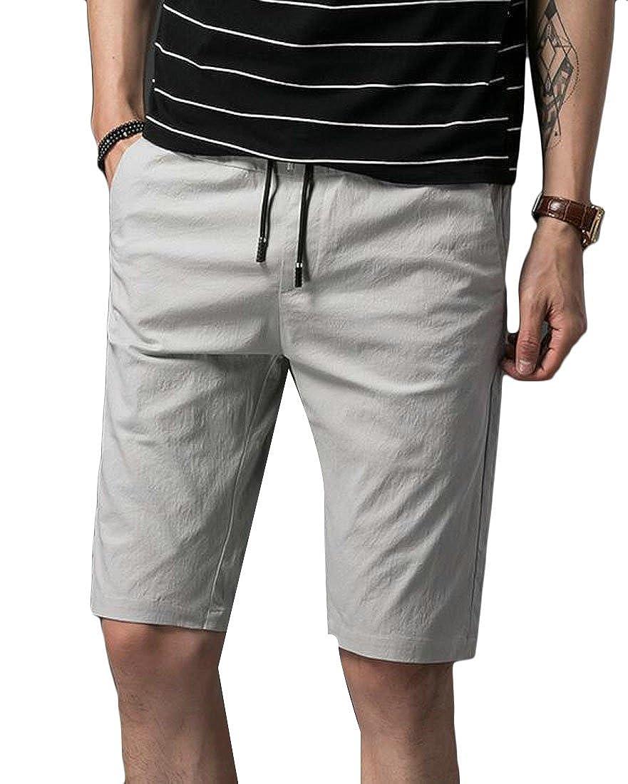 GRMO-Men Summer Drawstring Waist Cotton Solid Slim Flat-Front Shorts Pants