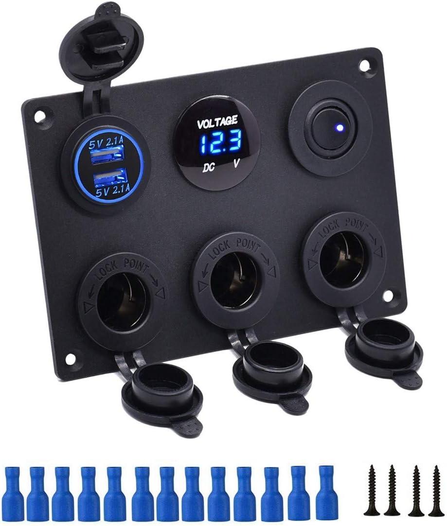 Thlevel Panel Multifuncional del Zócalo del Cargador del Coche con Cargador Dual de Toma USB, Encendedor de Cigarrillos, Voltímetro LED, Panel para Interruptores, para Marina, Barco, Coche, Camión