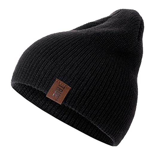 ada9b7dfd27efd Amazon.com: Beanies for Men Women Warm Knitted Winter Hat Fashion Solid Hip-hop  Beanie Hat Unisex Cap-1pc-Small Family (Black, 54cm-60cm): Clothing